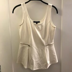 white tank top peplum with zippers on the side